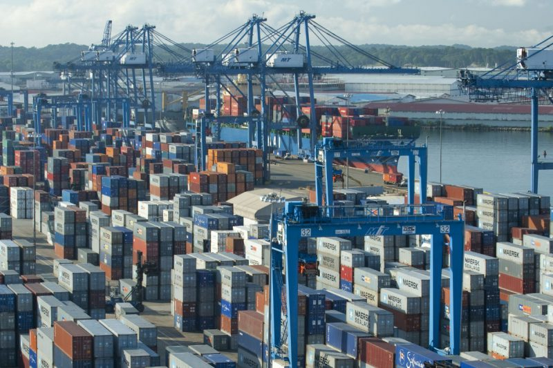 """Colon city, Panama - October 26, 2009: Manzanillo Container Terminal at the Port of Colon. Manzanillo is to be one of the most important ports in Central America before the entrance to Panama Canal. Is an important cargo terminal., one of the busiest ports in the Caribbean."""